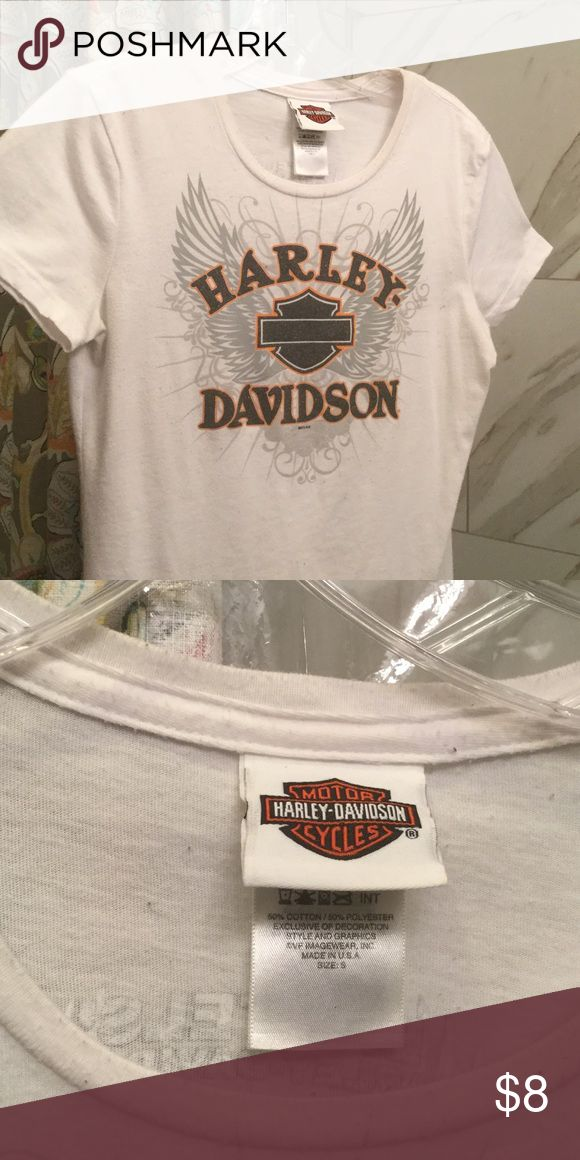 Harley Davidson Tee Shirt Sparkly Logo genuine Harley Tee Shirt..been washed a few times, a fairly tight SM which is pretty sexy actually.  Cotton w maybe 5% stretch..Logo on back, Los Angeles, CA. I bought in Harley store LAX Harley Davidson Tops Tees - Short Sleeve