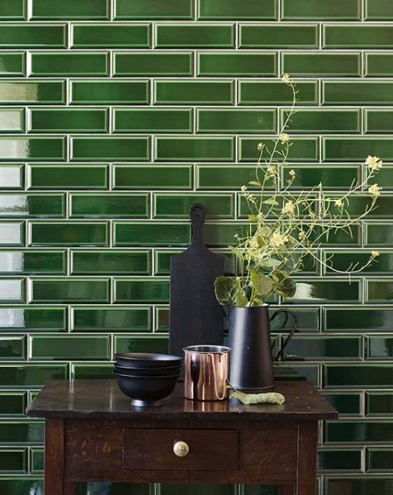 Metropolitan tiles by Fired Earth. Kitchen and hallway tiles are going green.