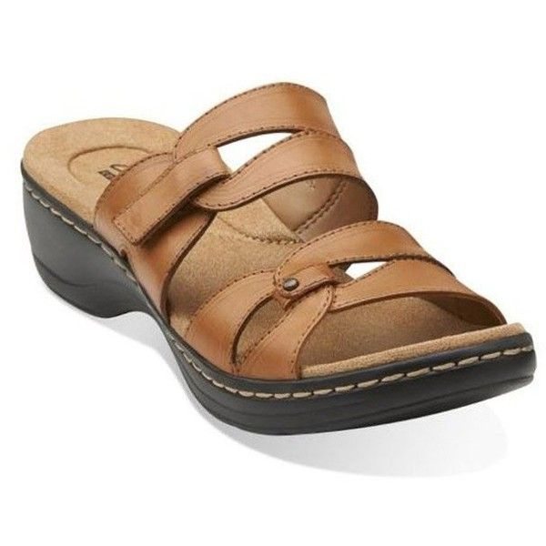 Clarks Women's Hayla Canyon Slide Casual Sandals ($45) ❤ liked on Polyvore featuring shoes, sandals, clarks, clarks footwear, clarks shoes and clarks sandals