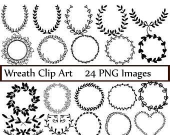 Corona de Laurel dibujado a mano Clip Art imágenes Vector y