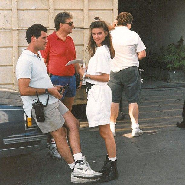 """Portrait of the fashion entrepreneur as a young film Production Assitant. Here on the set of the Charles Bronson film, """"Kinjite"""". Yes, that is a scrunchy in my hair."""