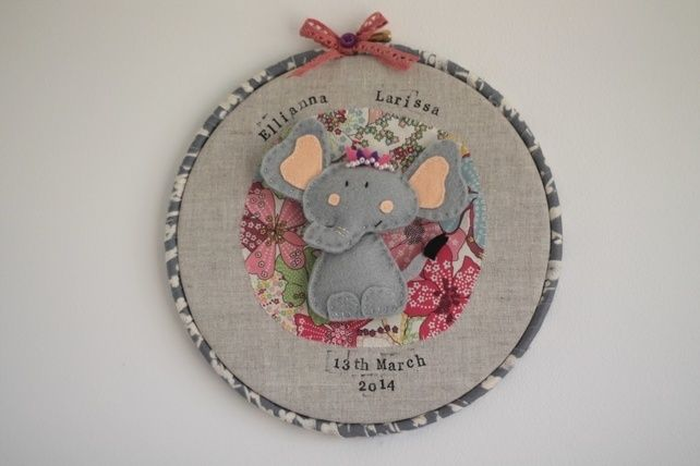 Personalised embroidery hoop nursery wall art - E is for Elephant £26.00