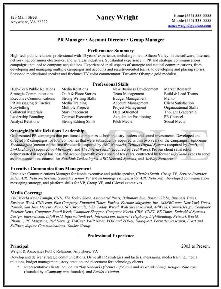Public Relations Resume Sample resume examples Pinterest - media relation manager resume