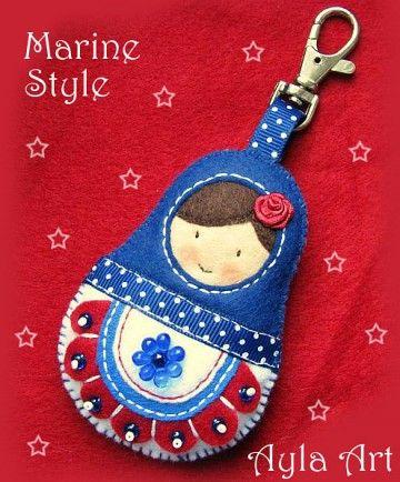 akcesoria - do włosów-BRELOK matrioszka MARINE STYLE :)