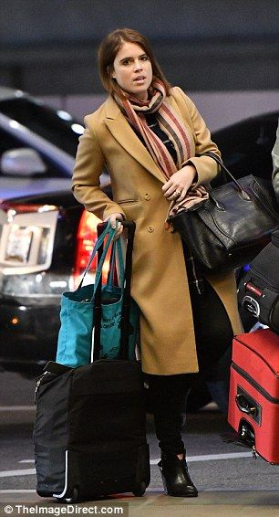 The Princess of York, 27, was spotted leaving LAX Airport on Friday in a stylish longline camel coat, skinny jeans and black ankle boots following a working visit with her gallery Hauser & Wirth.