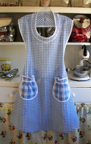 My Nana ALWAYS wore a dress and an apron when she was home. If she went grocery shopping she changed from her 'house' dress to a 'going out' dress. I love the old style, practical aprons she wore. They weren't a fashion statement, they protected her clothes. This website has some awesome aprons similar to the ones Nana wore.