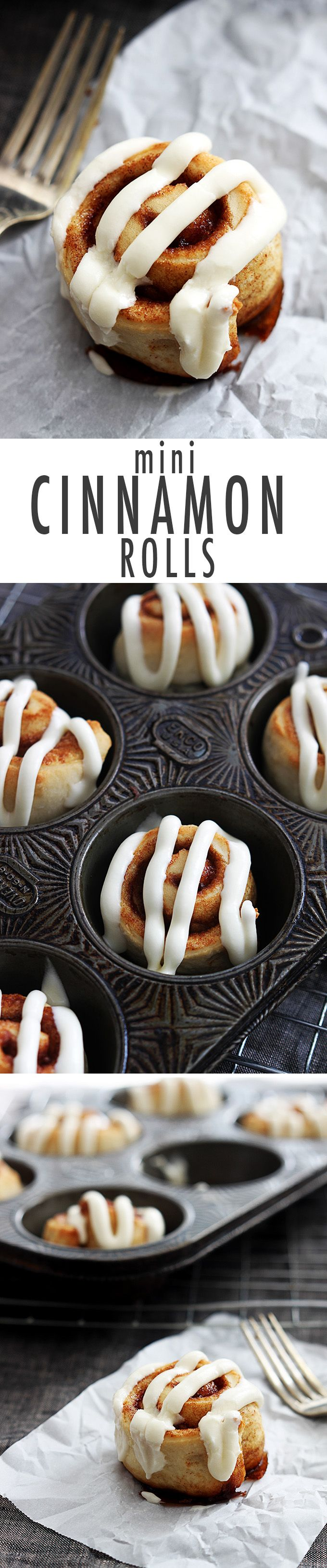 Fluffy mini cinnamon rolls with a super easy 5-ingredient dough made from scratch in just 30 minutes, all topped with the best cream cheese frosting.