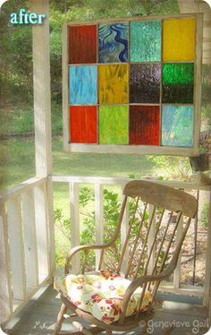 Turn an old window frame into a piece of stained glass art for the front porch.