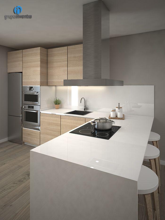 La #reforma de #cocina se distribuirá en forma de L. #kitchen #interiorismo #Barcelona
