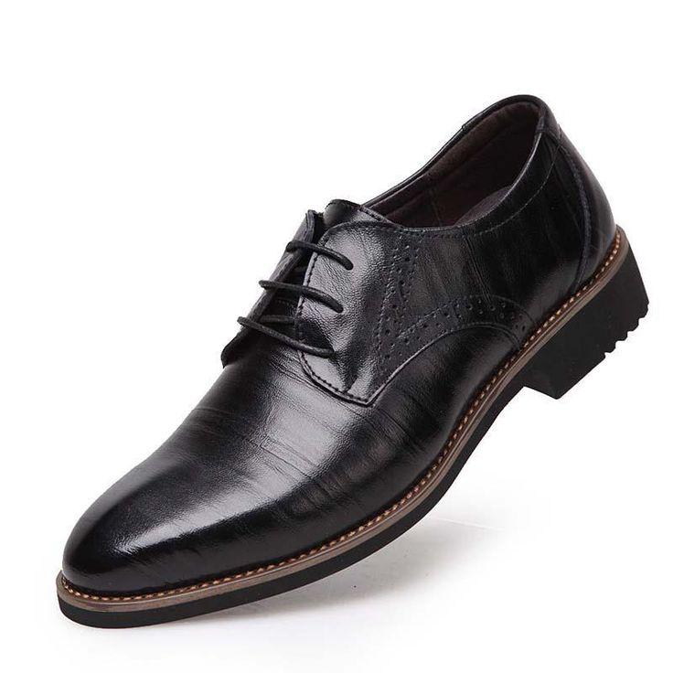 black / 6.5100% Genuine Leather Mens Dress Shoes, High Quality Oxford Shoes For Men, Lace-Up Business Men Shoes, Brand Men Wedding Shoes