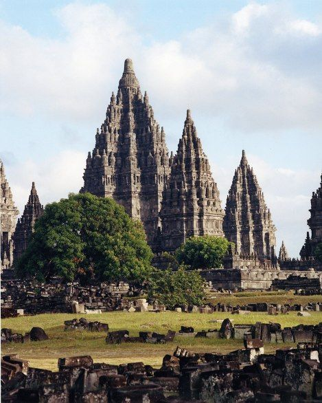The remains of more than two hundred temples, dating to the ninth century, make up the Prambanan site, Central Java.
