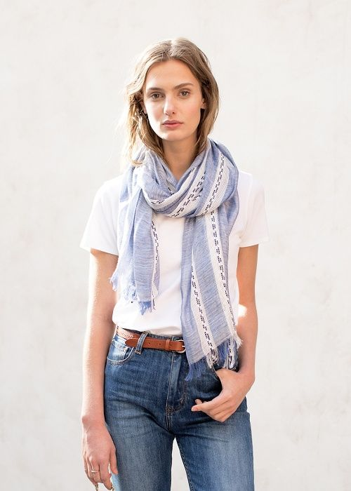 Gauzy blue and white embroidered scarf