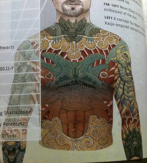 Newt's kaiju tattoos (Pacific Rim) | kaijus vs. jaegers | Pinterest