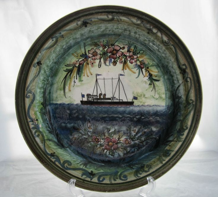Charger Plate Mediterranean Ship Made in Greece Artist Signed Hand Paint Pottery