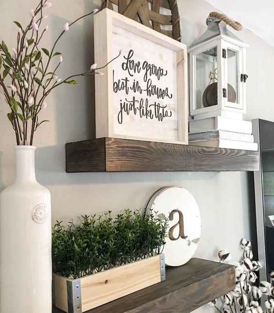Floating shelves, wood shelves, farmhouse decor, farmhouse Style, modern farmhouse, lantern, greenery, living room decor, neutral decor, Hobby Lobby decor, TJ Maxx decor,   See Instagram photos and videos from Robin Norton (@rocknrob)