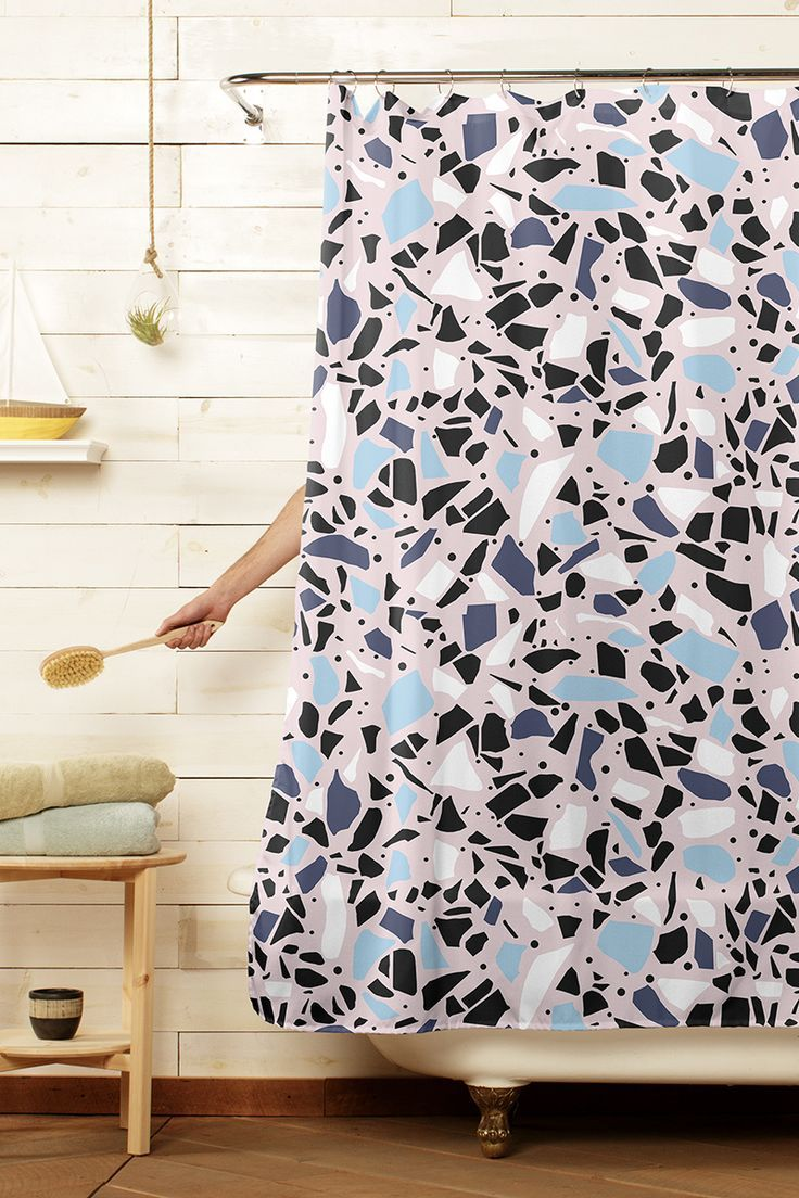 Terrazzo Mosaic Blue And Pink Shower Curtain 59