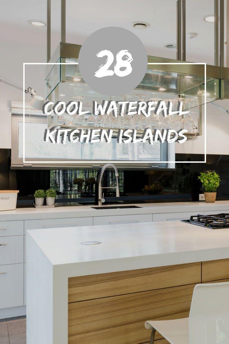 cool waterfall kitchen island ideas photos in
