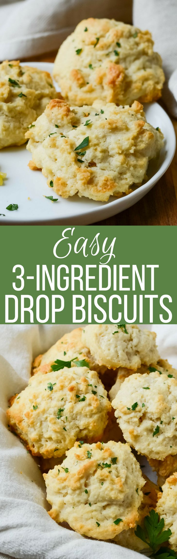 This quick and easy biscuit recipe with only 3 ingredients, is one you'll make again and again! The best homemade drop biscuits!