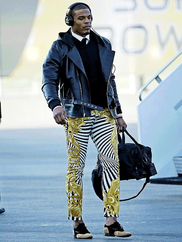 Cam Newton Wore Wild Versace Pants to Touch Down at the Super Bowl
