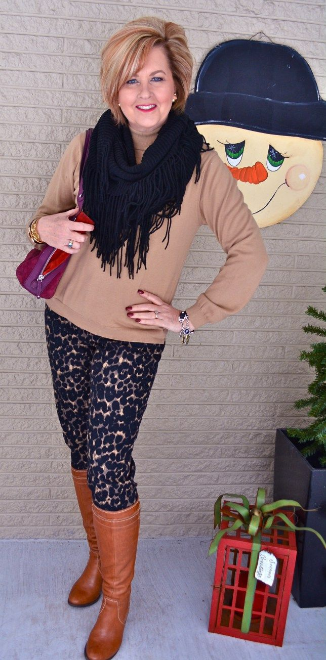 50 Is Not Old | Good Picture - Tips for taking a good picture. Fashion over 40 for the everyday woman. Fringe scarf + leopard