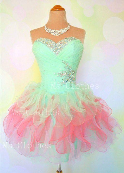Custom Made Ball Gown Strapless Short Prom Dresses, Homecoming Dresses, Dress For Prom, Formal Dresses, Prom Dresses 2014