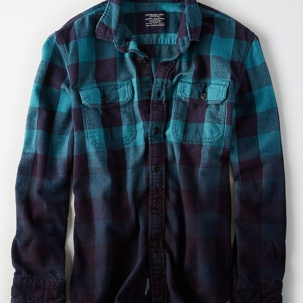 AE Dip Dye Rugged Flannel Shirt ($20) ❤ liked on Polyvore featuring men's fashion, men's clothing, men's shirts, men's casual shirts, mens blue plaid shirt, mens long sleeve shirts, teal mens shirt, mens flannel plaid shirts and mens blue flannel shirt