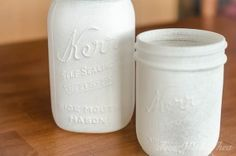 Apply one coat of spray paint primer to glass mason jars. / timewiththea.com