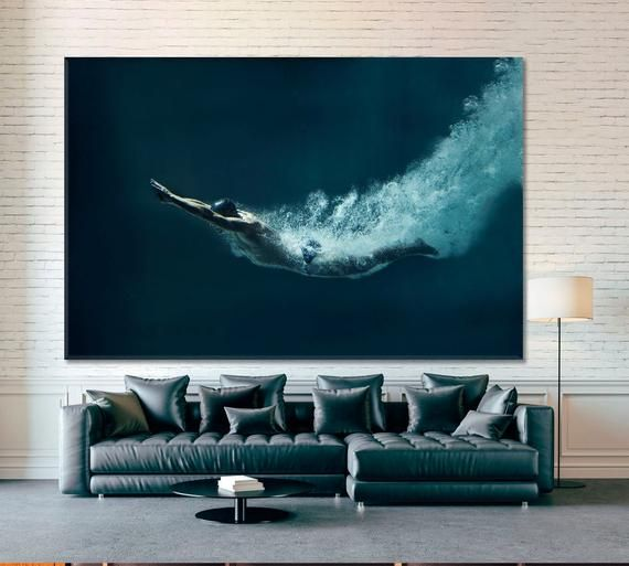 Professional Swimmer Wall Decor Swimmer Underwater Canvas Etsy In 2021 Abstract Wall Art Water Walls Wall Decor