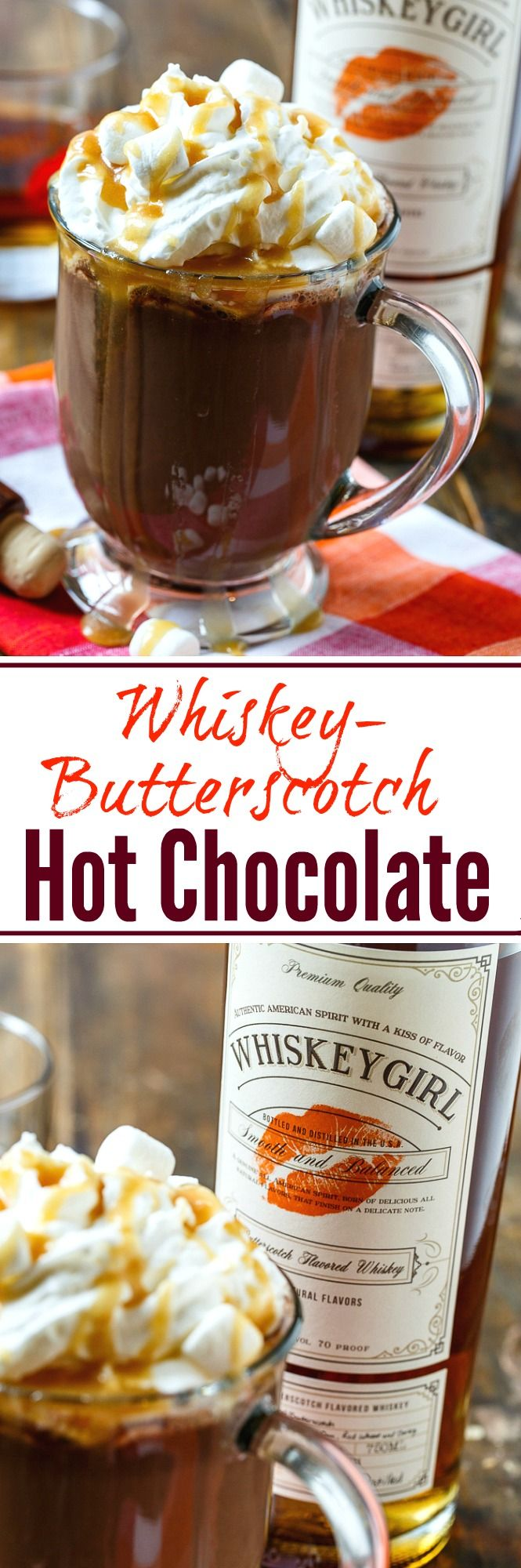 Whiskey-Butterscotch Hot Chocolate topped with whipped cream and caramel sauce. Perfect for Valentine's Day.