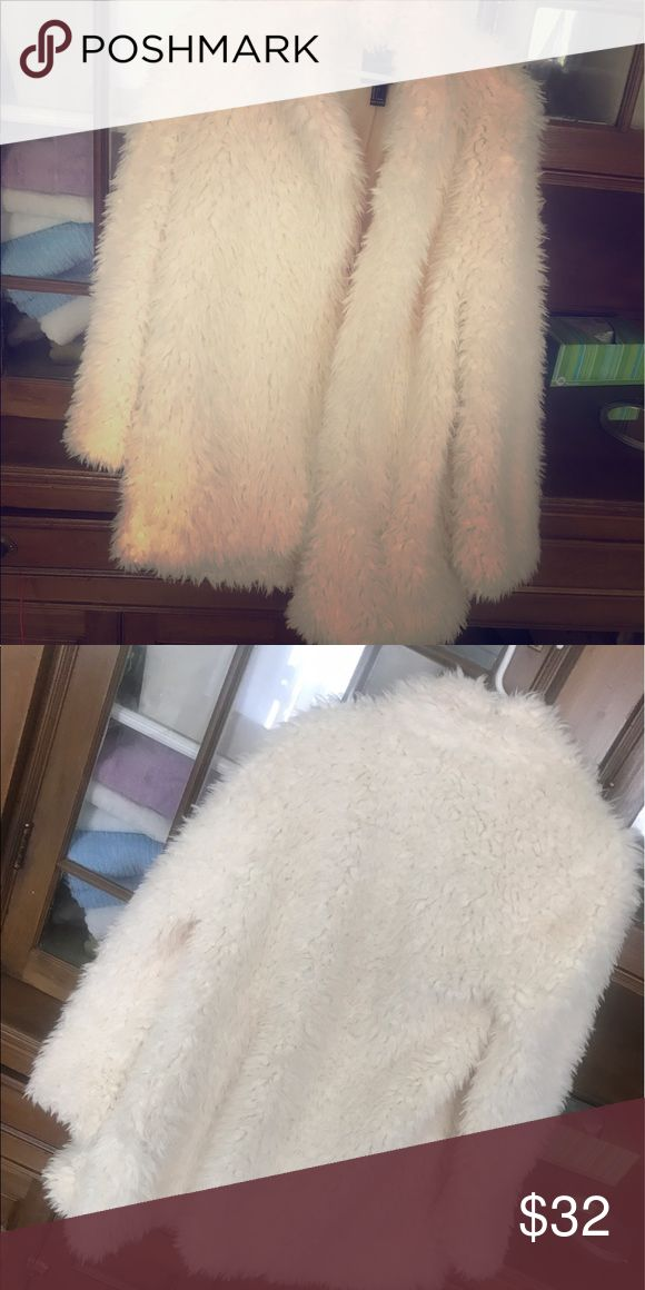 White fluffy jacket Forever 21 over sized white faux fur jacket! So soft and comfy Forever 21 Jackets & Coats