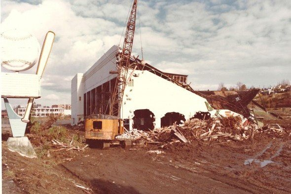 A sad picture - Sick's Stadium (home of the Rainiers and Pilots) being demolished near Seattle making way for the Loews Home Improvement hardware store, Feb. 1979.