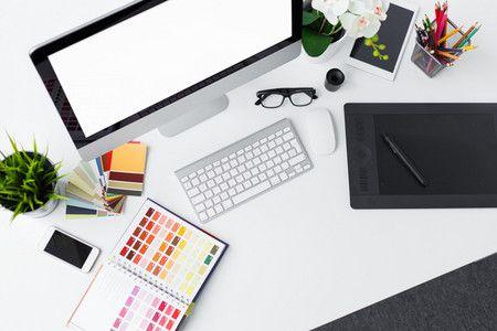 白色简约办公桌背景背景图片素材