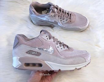 Nike Air Max 90 LX Velvet - Particle Rose Grey White customized with  SWAROVSKI® Crystals c6dd3d1766
