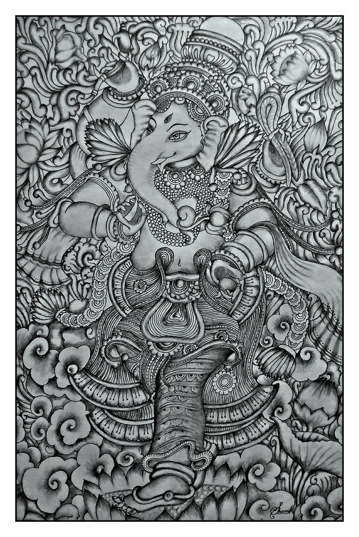 kerala mural pencil drawing by Shamilart