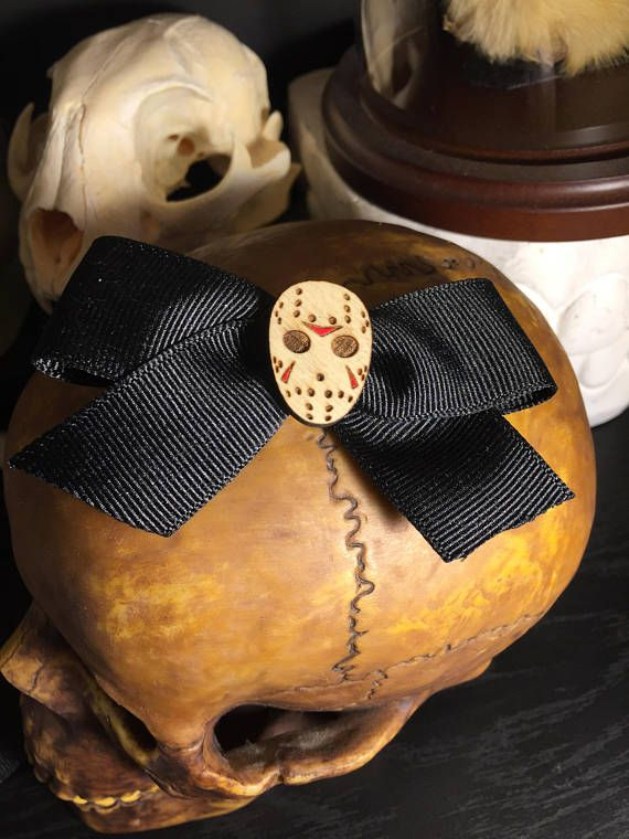Jason Vorhees Halloween Mask Ribbon Hair bow pair