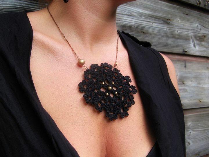 """Crochet necklace  """" black lace"""" by Limetka123 on Etsy"""
