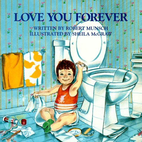"Love You Forever.  Story about a mom telling his son ""Love you forever"" when he is asleep until he becomes an adult... And there's a tearful sweet surprise at the end!    I absolutely love this book.  I still remember my kindergarden teacher crying as she read this book to us.  And she has always been my favorite teacher.  :)"