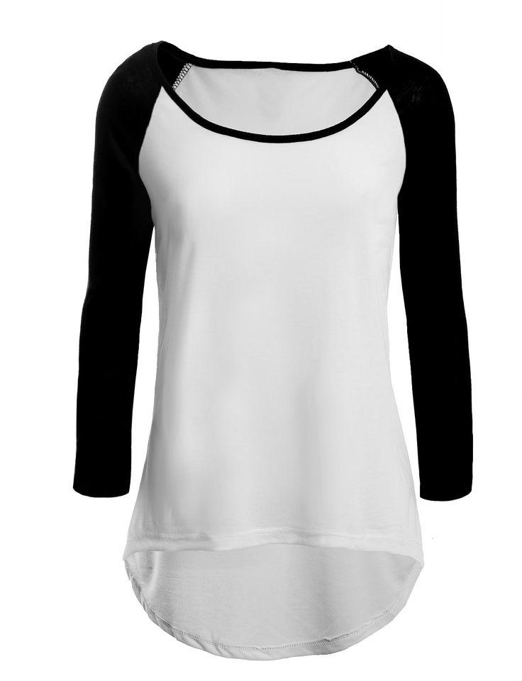 LE3NO Womens Lightweight Round Neck 3/4 Sleeve Raglan Baseball T Shirt