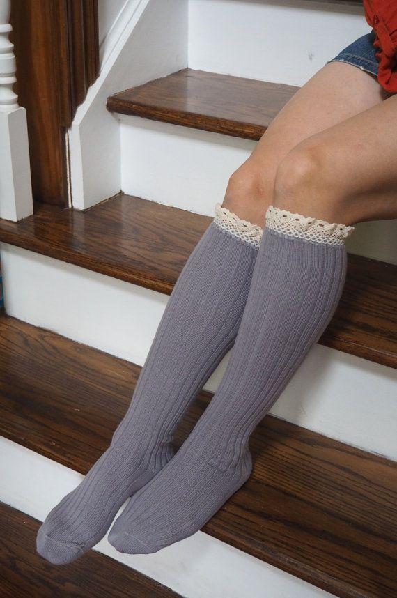 Lavender Knee High Socks Boot socks Women by AboutTheFit on Etsy
