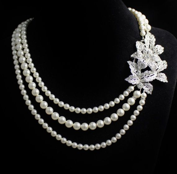 Pearl Bridal Necklace, Vintage Style Crystal Bridal necklace,  Wedding Jewelry, Wedding Necklace, Bride Jewlery LEXI on Etsy, $110.54 CAD