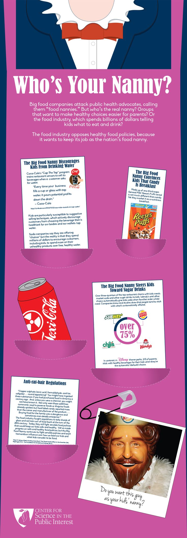 "For years companies that make their money marketing junk food to kids have labeled CSPI and other nutrition advocates as ""food nannies.""  Perhaps they think that name-calling will distract parents from the fact that they spend $1.8 billion each year marketing (mostly unhealthy) food to kids. But, who's the real food nanny? Check out this infographic for the truth!"