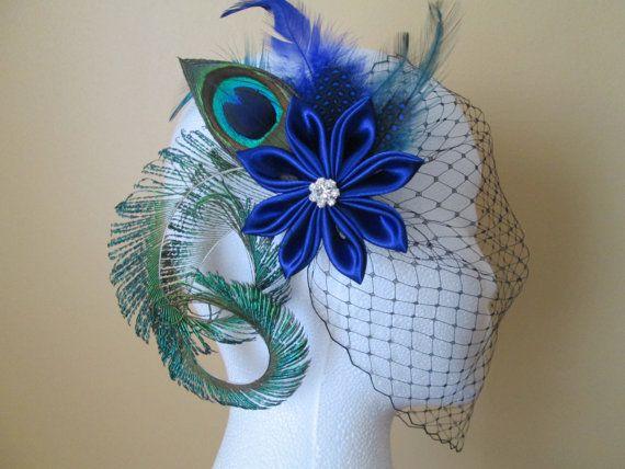 Shanny's Wedding!!  Wedding Peacock Fascinator, Royal Blue Kanzashi Flower Bridal Head Piece, Sapphire Blue Hair Flower with Feathers & Birdcage