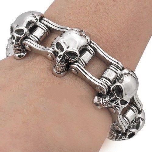 Stainless Steel Men Skull Motorcycle Chain Bracelet Bangle