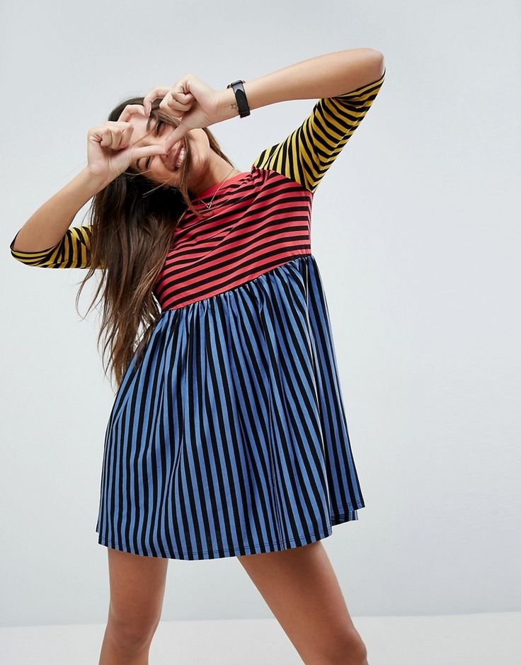 ASOS Cut About Stripe Mini Smock Dress - Multi