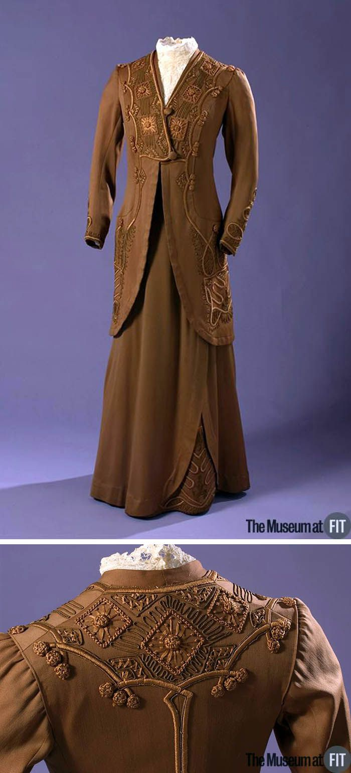 Suit, American, ca. 1913. Brown cotton sateen, cotton floss, soutache cord, and tape.