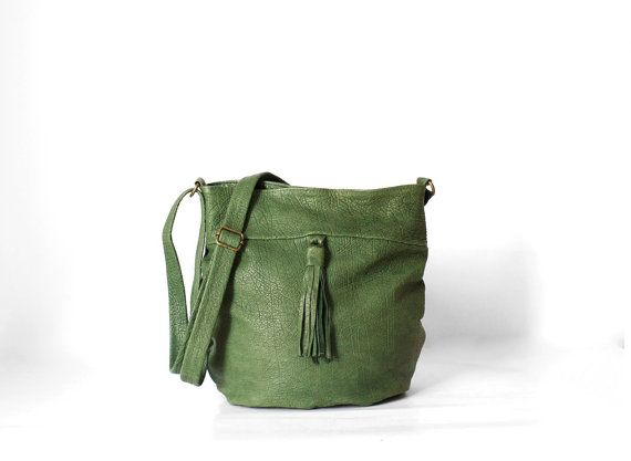 Pogo Bag in Forest Green/ Leather Messenger Bag / Green by morelle, $165.00