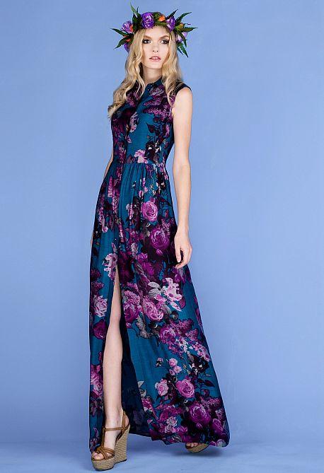 Платье в пол с цветочным узором из батист-шелка