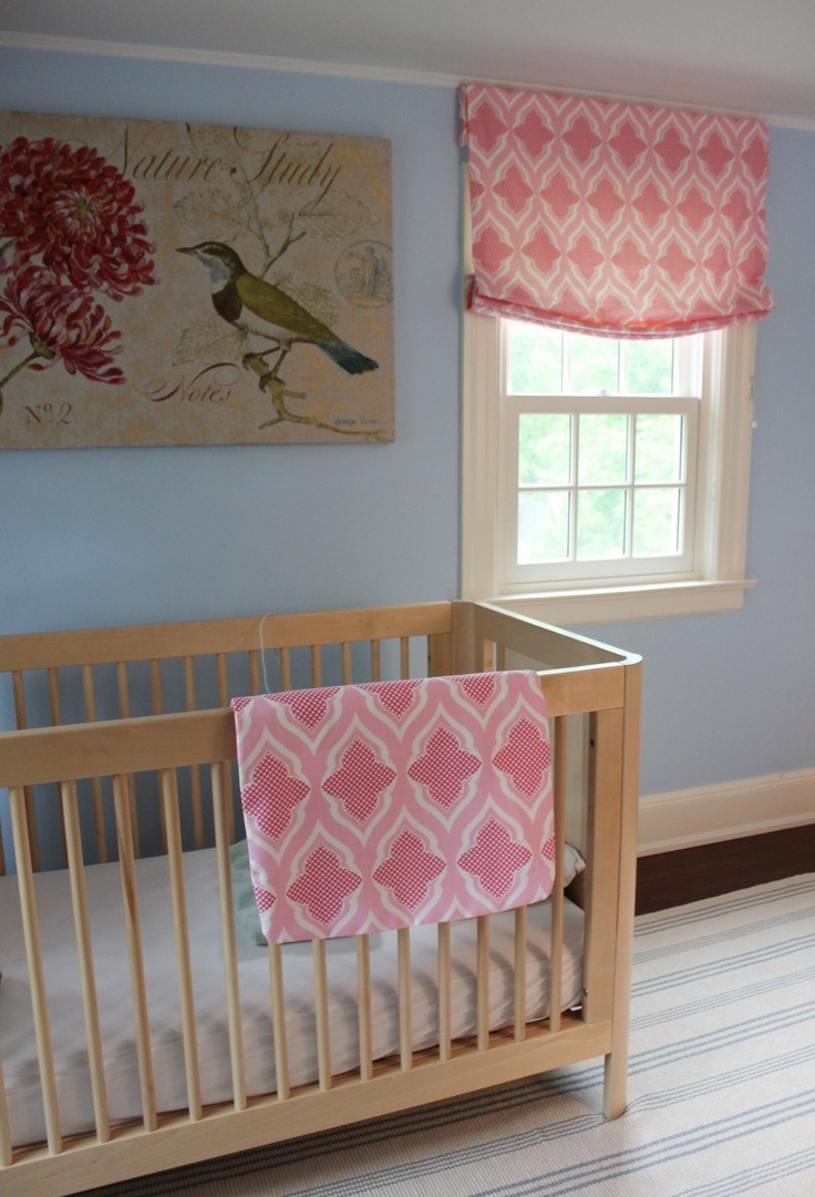 Contemporary roman shade in schumacher imperial trellis fabric by - Christopher Farr Venecia Relaxed Roman Shades In Nursery