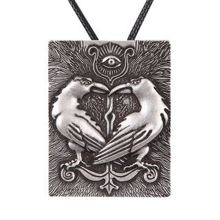 """In Norse mythology, Hugin and Munin (Norse, """"thought"""" and """"memory"""") are the twin ravens and the shamanic helping spirits of the Norse god Odin.  According to legend they are sent out each morning and report back to Odin each evening on the reports of the happenings of the world.  It is believed that the dual raven symbol helps to inform and stimulate the virtues of thought and memory."""