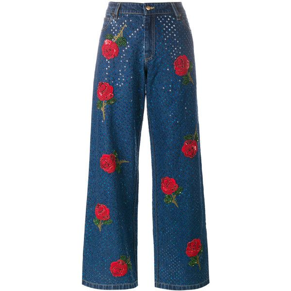 Ashish rose embroidered sequin jeans (24 410 ZAR) ❤ liked on Polyvore featuring jeans, pants, bottoms, blue, 5 pocket jeans, blue jeans, embroidered jeans, embroidery jeans and ashish